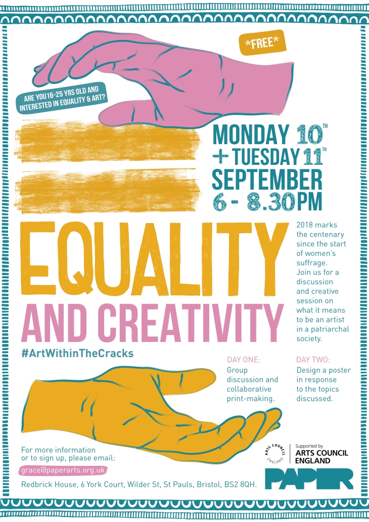 Flyer for equality art workshop at paper arts